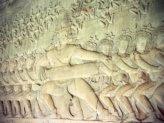 Churning the Sea of Milk bas relief Angkor Wat Cambodia