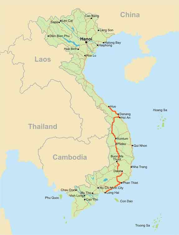 Mountains In Vietnam Map.Veloasia Cycling The Ho Chi Minh Trail Vietnam Bicycling Tour