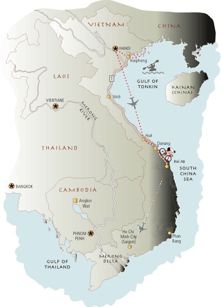 Vietnam Bicycling Tour Map