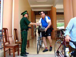 Crossing the border, Laos Cycling Tour